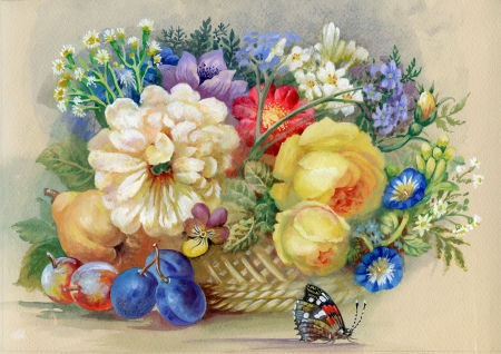 wash painting: Flowers and fruit