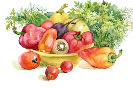 wash painting: autumn vegetables