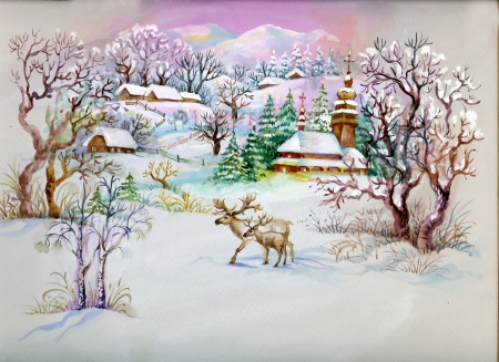 Watercolor Landscape Collection: Winter Village Life photo