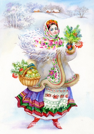 Rapariga no traje tradicional