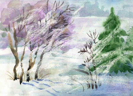 Watercolor Landscape Collection  Winter photo