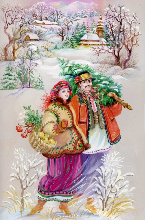 winter theater: Girl and boy in traditional clothes