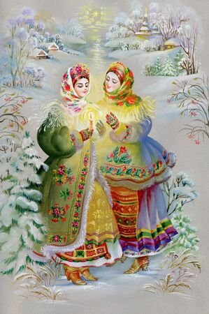 winter theater: Young girls in traditional costume Stock Photo