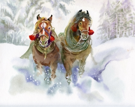 heavy snow: Horses running in winter