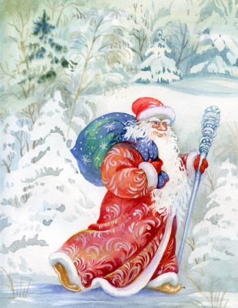 Santa Claus wishes a happy new year and Christmas Stock Photo