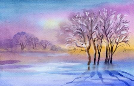 Watercolor Landscape Collection  Winter landscape Stock Photo