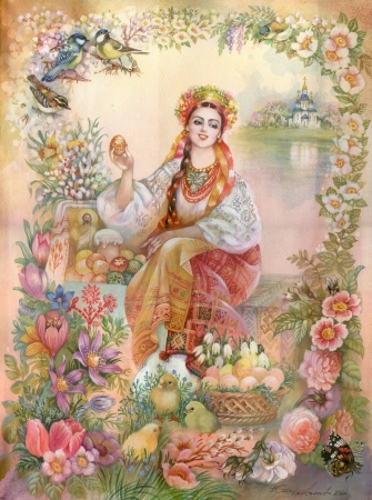 Jovem mulher em traje ucraniano
