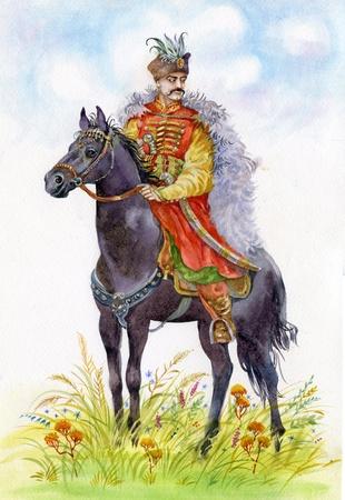 Ukrainian Cossack on a black horse Stock Photo