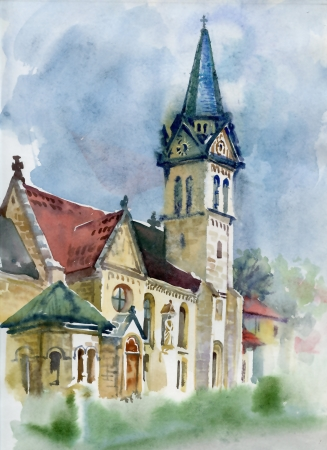 Aquarelle Paysage Collection Village Life Banque d'images - 20540244