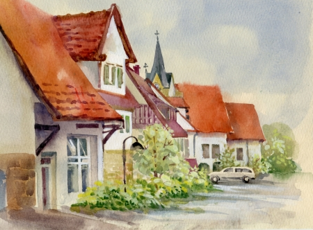 victorian house: Watercolor Landscape Collection  Village Life Stock Photo