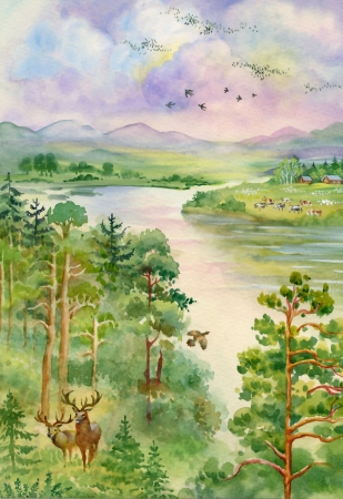 Summer landscape with river, pine, trees and deer Stock Photo