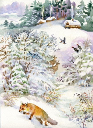 Winter landscape with a house and a fox Stock Photo - 20540226