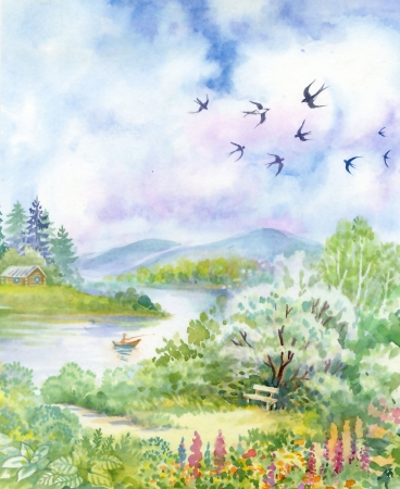 Spring landscape with swallows Stock Photo
