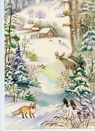 Paisagem do inverno com uma casa e um fox