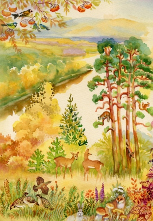 rutting: Autumn landscape with deer Stock Photo