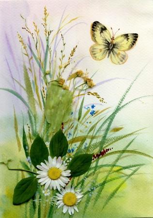 papillon dessin: Fleurs sauvages et d'un papillon