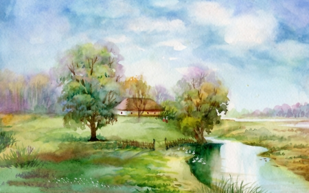 wash painting: Watercolor Landscape Collection  Village Life Stock Photo
