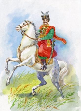 Ukrainian Cossack on a white horse photo