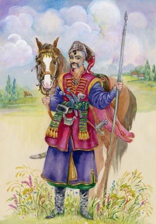 Ukrainian Cossack horse around, watercolor