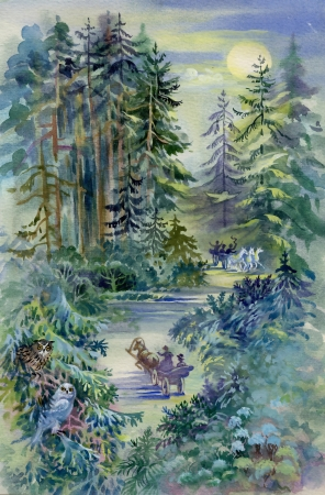 tone shading: Watercolor Landscape Collection  Night Forest