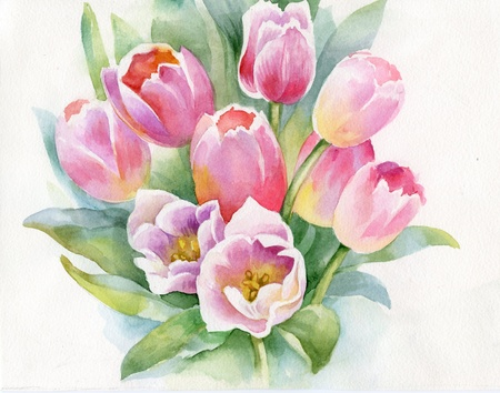 Watercolor tulips photo