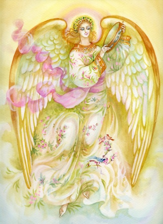 Watercolor Angel playing tamburine Stock Photo