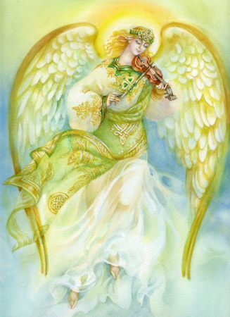 Watercolor Angel playing violin Stock Photo