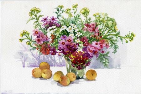 tone shading: Flowers and fruit