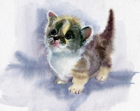 tone shading: Watercolor Animal Collection  Kitten