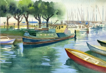 watercolor technique: Watercolor Landscape Collection  Boats