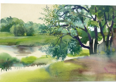 Watercolor Landscape Collection  Near the River photo