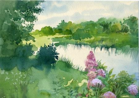 강 근처에 수채화 풍경 모음