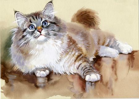 schmetterlinge blau wasserfarbe: Aquarell Animal Collection Cat