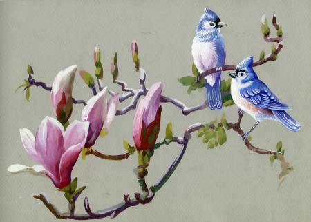 Pintura Aves coleta de primavera