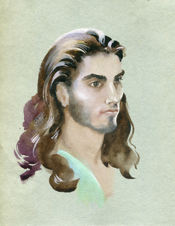 Watercolor portrait of young man  Hand painted illustration