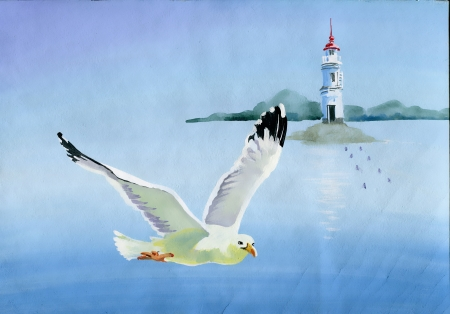 watercolor technique: Watercolor seagulls