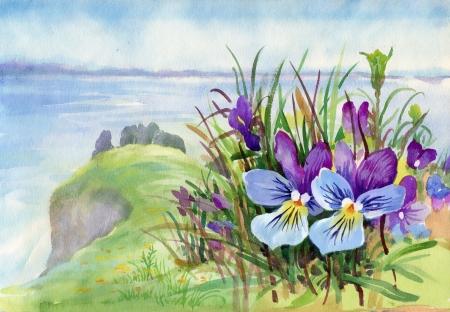 Beautiful iris meadow in watercolor Stock Photo