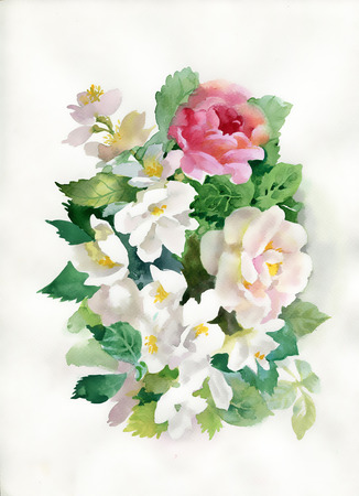 Rosas da aguarela buqu