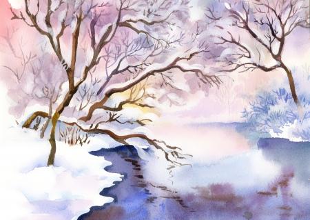 Landscape Watercolor landscape  Winter Collection photo