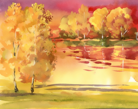 peacefully: Watercolor autumn landscape collection