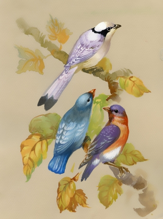 Birds on a blossoming tree