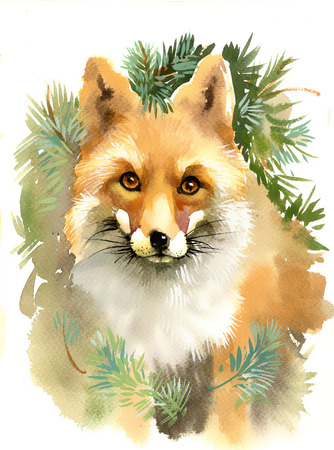 fine art painting: Portrait of a fox with branches