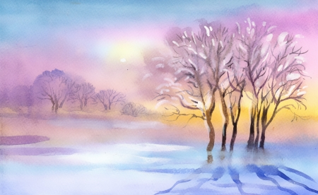 Landscape Watercolor landscape  Winter Collection Banco de Imagens