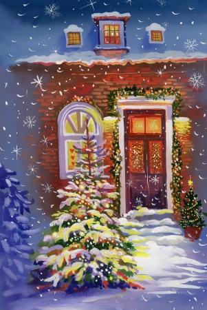 Aquarel huis met kerstboom