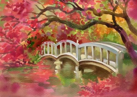 Bridge over the river  Watercolor picture