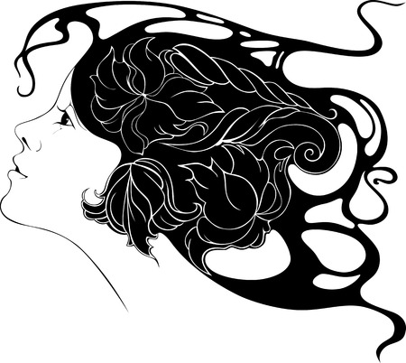 stile liberty: bella ragazza con fiori nei capelli in stile Art Nouveau Vettoriali