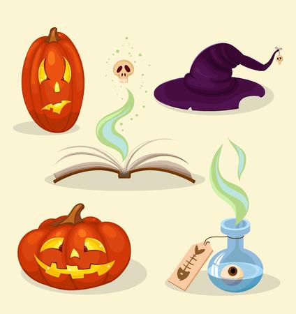 magick: helloween set of objects of pumpkin, hat, poison, book