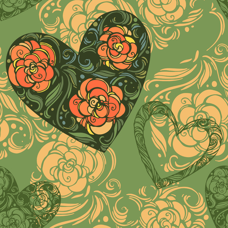 aster: Seamless pattern of aster flowers with leaves and hearts Illustration