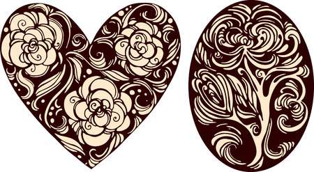 Oval and heart decorative images in retro graphic style Vector