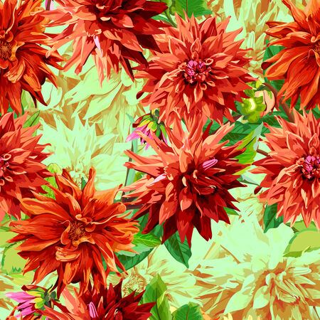georgina: Seamless pattern of georgina flowers with leaves